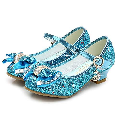 YOSICIL Fille Chaussures Brillantes Princesse Papillon Cristal Girl Shoes A Paillettes Souple Rouge Noir Violet Halloween Noël Ceau Idéal Carnaval