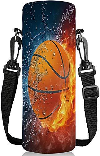 HEABPY 1000 ml, 750 ml, 500 ml Wasserflaschen-Tragetasche, verstellbarer Schultergurt, für Edelstahl-/Glas-/Kunststoff-Flaschen, Sport-Energy-Getränke (500 ml, Feuerkorb Basketball)