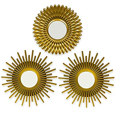 Gold Mirrors for Wall Pack of 3 - BONNYCO | Wall Mirrors for Room Decor & Home Decor | Gold Round Mirrors for Wall Decor | Circle Mirrors Modern Wall Decor Gifts for Women & Moms | Decorative Mirrors