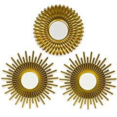 ☀ PACK OF 3 ☀ The gold mirrors for wall decor come in a pack of 3, allowing you to use each small round mirror to decorate several rooms if you wish, or put them all on the same wall to give a unique and personalized style. They are perfect wall deco...