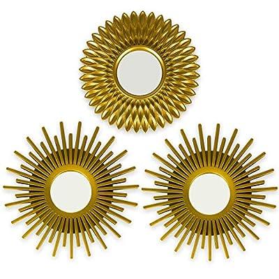 ☀ IDEALES PARA COLGAR EN PARED ☀ Cada uno de los tres espejos dorados tienen un pequeño cáncamo para que puedan ser colgados en una pared. Son resistentes ya que la parte exterior es de plástico y amortigua mejor la parte interior de cristal ☀ PACK D...