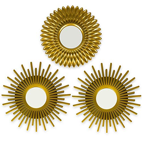 BONNYCO Wall Mirrors Pack of 3 Gold Mirrors for Living Room, Home Decor & Bedroom | Round Mirrors for Hanging and Wall Decor | Small Mirrors & Shabby Chic Home Accessories | Gifts for Women & Mums