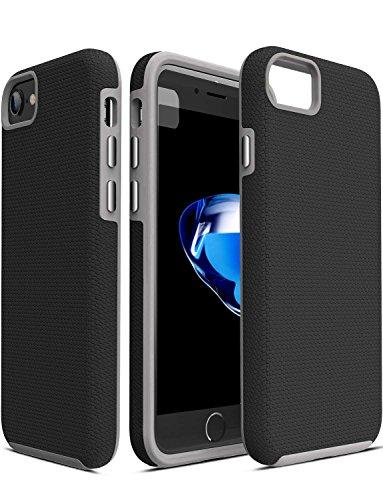 TOZO for iPhone 7 Case/iPhone 8 Case Armor Football Pattern Texture Soft Touch Anti-Slip Grip Shock Proof Rugged Dual Layer Protect Case Gray+Black