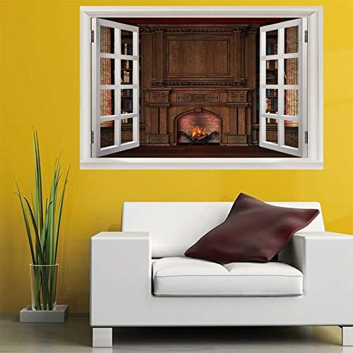 Leoljc Open Haard 3D Nep Venster Afneembare Venster Landschap Muursticker PVC Home Decoratie Waterdichte Muursticker (50X70Cm)