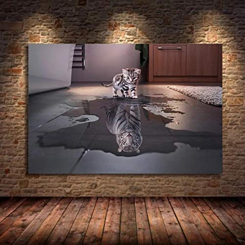 WTYBGDAN Decoración Moderna Oposiciones de Tigre y Gato Sueños Carteles e Impresiones Arte de la Pared Animal Lienzo Pintura Decoración Sala de Estar | 60x80cm / Sin Marco