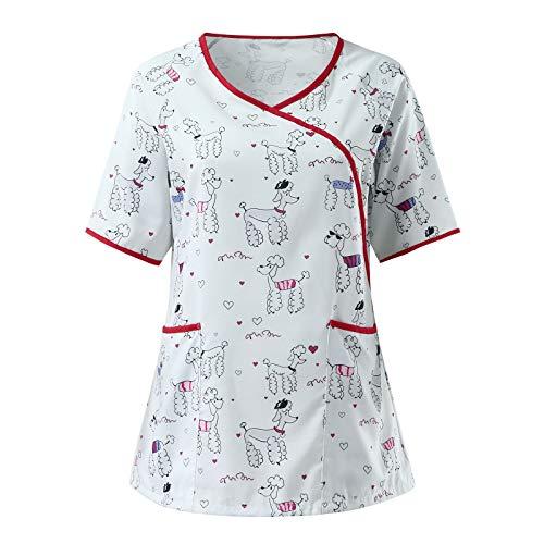 VEMOW Uniforme de Trabajo Camisas para Mujeres Cuello Y Manga Corta, Motivo...