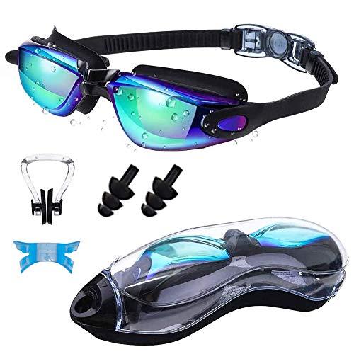 Gafas de natación, polarizadas, impermeables y antivaho, con correa ajustable a los rayos UV, equipadas con caja de almacenamiento, pinza nasal, tapones para los oídos, aptas para hombres y mujeres