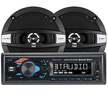 Dual Electronics XDM17SPK High Resolution LCD Single DIN Car Stereo Receiver with Built-in Bluetooth USB MP3 Siri/Google Assist Button & Two 2-Way 6.5-inch Car Speakers