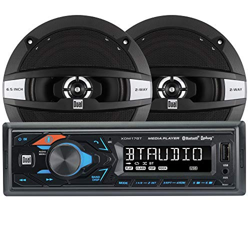 Dual Electronics XDM17SPK High Resolution LCD Single DIN Car Stereo Receiver with Built-in Bluetooth, USB, MP3, Siri/Google Assist Button & Two 2-Way 6.5-inch Car Speakers