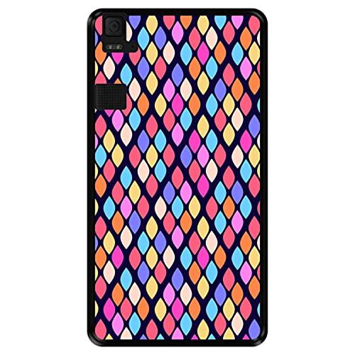 Hapdey silikon Hülle für [ Bq Aquaris E6 ] Design [ Abstraktes Muster mit bunten Rauten ] Schwarze Flexibles TPU