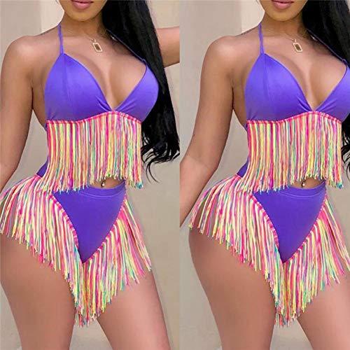ISKER Badpak Lange Tassel Bikini Set Vrouwen Vintage Fringe Vrouwen Lage Taille Badpak Draag Push Up Bikini 2019 Paars Zwart Badpakken
