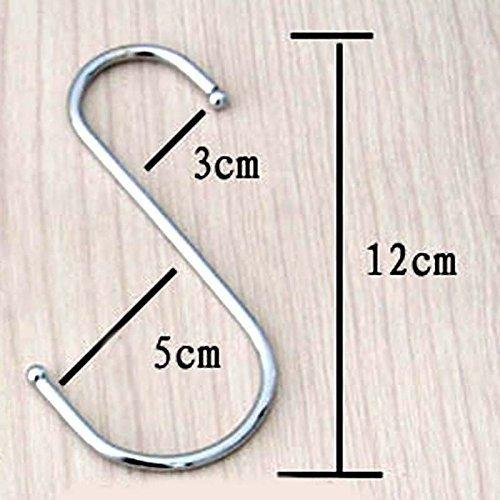 paquet de 10 Plus Large Rond S en forme de Crochets en Acier Inoxydable Poli Métal Taille :Grand - Large