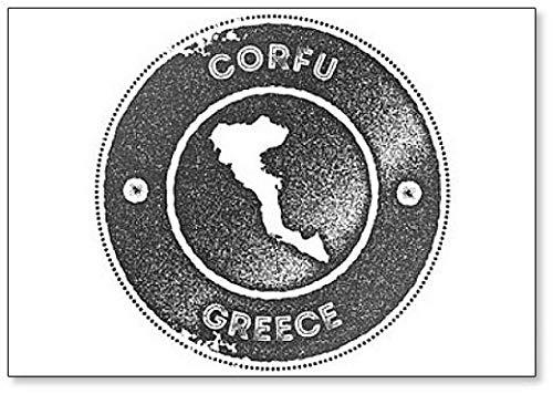 Corfu Kaart Vintage. Retro Style - Koelkast Magneet