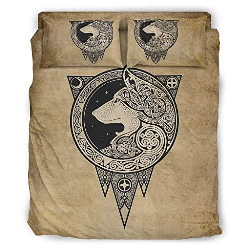 Viking Wolf O3XEQ-8, set di 4 copriletto con federe e copripiumino, morbido e facile da lavare, 228 x 264 cm, colore bianco