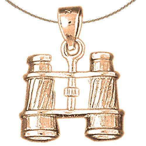Jewels Obsession - Collar de prismáticos en 3D en oro rosa de 14 K con collar de 45,7 cm