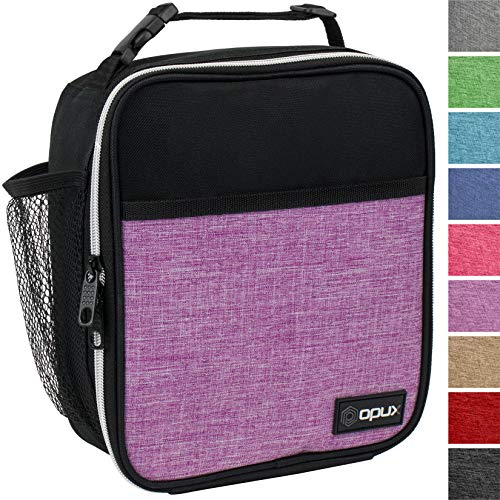 OPUX Premium Insulated Lunch Box | Soft Leakproof School Lunch Bag for Girls, Kids | Durable Reusable Work Lunch Pail Cooler for Adult Women, Office Fits 6 Cans (Heather Purple)