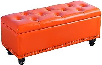 JQQJ Storage Box Seat Cube Eco-Friendly Fabric Bedroom Bench Foot Rest Seat Storage Ottomans Benches Non-Slip Puppy Step (Color : Orange, Size : 80x40x45cm)