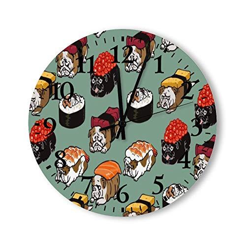 DKISEE Reloj de pared redondo de madera para dormitorio, sala de estar o casa, silencioso, sin garrapatas, diseño de bulldog inglés de Sushi