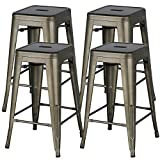 YAHEETECH 24inch Metal Bar Stools Counter Height Barstools Set of 4 High Backless Industrial Stackable Metal Chairs Indoor/Outdoor, Gun Metal