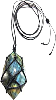 Longshow Natural Stone Pendant Dragons Heart Shaped Labradorite Necklace Braided Yoga Macrame Necklace for Men's Women's Energy Hanging Drops