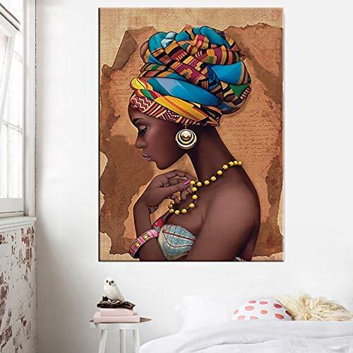 wZUN Lienzo Africano Pintura Pared Arte Imagen Carteles e Impresiones Mujer Negra sobre Lienzo decoración de la Pared del hogar 60X90 Sin Marco