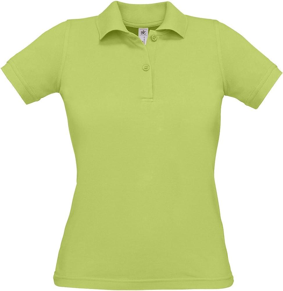 Womens B/&C Safran Ladies Fitted Cotton Pique Polo Shirt