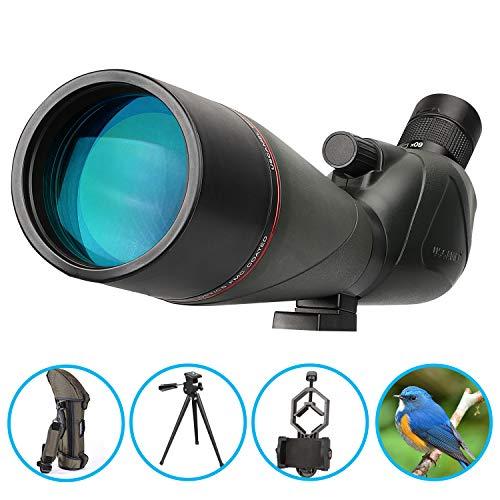 Telescopio Terrestre 20-60X80 Profesional Telescopio Monocular Impermeable Birdwatching HD con Adaptador de Teléfono y Trípode para Tiro con Arco, Safari Sightseeing, Stargazing, Camping