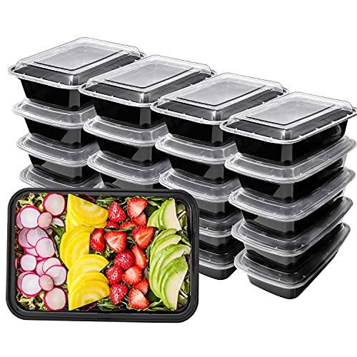 HENSHOW Contenitori Alimentari 1 Scomparti Set di 20 Pezzi, 1000 ml di Contenitori Alimentari con Coperchi per Il Cibo Riutilizzabili BPA, Microonde, Congelatore e Lavastoviglie
