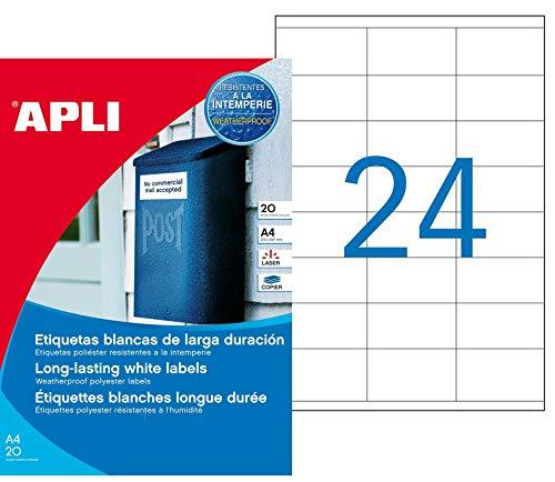 APLI 1226 - Etiquetas blancas resistentes intemperie 64,6 x 33,8 mm 20 hojas