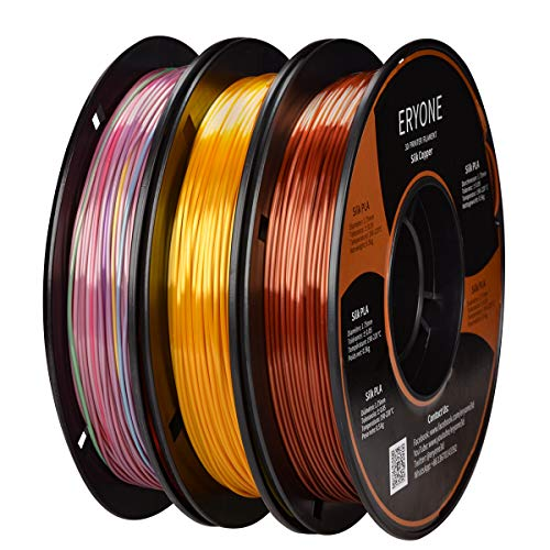ERYONE PLA Filament 1.75mm Silk Gold/Copper/Mini Rainbow, Silky Shiny Filament PLA 1.75mm, 3D Printing Filament PLA for 3D Printer and 3D Pen, 3 Spools, 0.5kg/Color/Spool