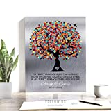 10 Year Anniversary, Tin Anniversary, Gift for Couple, The Perfect Marriage, Colorful Tree, Silver Background, Tenth Custom Art on Paper, Canvas or Metal #1208