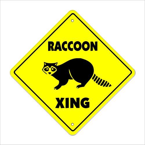 "Raccoon Crossing Sign Zone Xing | Indoor/Outdoor | 12"" Tall Animals Coon Hunter Hunting Wild Collectible"
