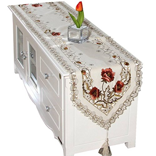 Bigood Simple Nappe Hollow-Out Set Décoratif Table Tapis Maison Polyester Rose 40*196cm