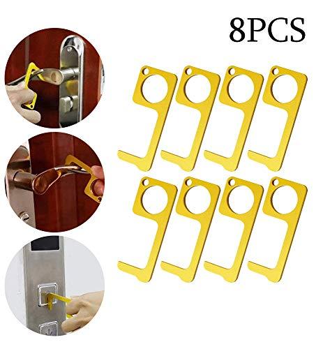 Preisvergleich Produktbild WangT EDC Türöffner Hygiene Hand Messing Tragbare Presse Aufzug Werkzeug - Gesund Einfache Berührungslose Türöffner Schließer Personalisierter Schlüsselbund Hände Sauber Halten, 8PCS