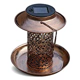 Outside Solar Bird Feeder, Heavy Duty Hollow Copper Hanging Bird House with Light for Feeding Wild Bird, Outdoor Garden Backyard Decoration