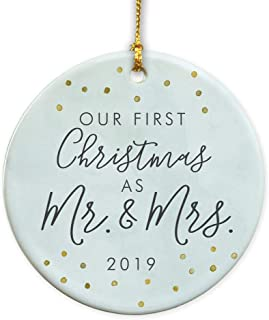 GiftsForYouNow First Christmas As Mr & Mrs 2019 Ceramic Christmas Ornament, Wedding Ornament, Newlywed Gift, Wedding Gift, 2.75 inch Glossy Ceramic Ornament, Gold Ribbon Included