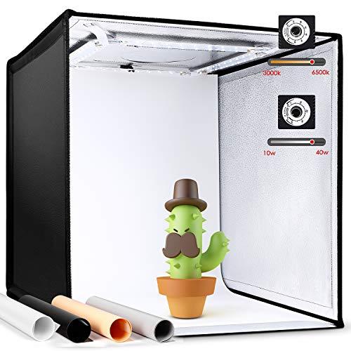 Amzdeal Fotostudio 3000-6500K Dimmbare Lichtzelt 50×50×50cm Foto Zelte mit 4 Hintergründe (Schwarz, Weiß, Grau, Orange) CRI90