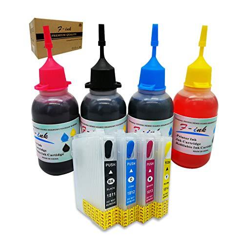 Cartucho de tinta recargable y tinta 4x50ml Compatible con tinta Epson 18 o 18XL, funciona con XP-415 XP-212 XP-215 XP-225 XP-322 XP-325 XP-412 XP-413 XP-422 XP-420 XP-425 Impresora