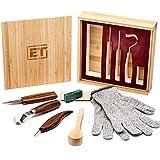 Elemental Tools 木製カービングツール9点セット – フックカービングナイフ、ホイットリングナイフ、ディテール木製ナイフ、スプーン、ボウル、クサカップまたは一般的な木工用ナイフ – ボーナス耐切創手袋と竹製ギフトボックス。