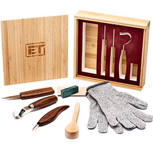 Elemental Tools 9pc Wood Carving Tools Set - Hook Carving Knife, Whittling Knife, Detail Wood Carving Knife For Spoon, Bowl, Kuksa Cup Or General Woodwork - Bonus Cut Resistant Gloves And Bamboo Box