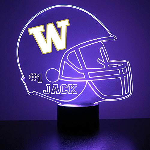 Mirror Magic Store Washington Huskies Football Helmet Sports Fan Lamp/Night Light - LED - Personalize for Free - Featuring Licensed Decal