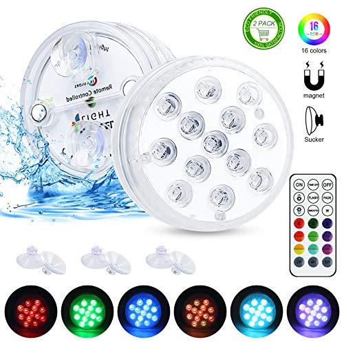 Unterwasser Licht, Zorara 2 Stück Poolbeleuchtung RGB Farbwechsel 13 LED Unterwasserlicht mit RF Fernbedienung IP68 Wasserdichte Teichbeleuchtung für Vase Base, Weihnachten, Halloween, Schwimmbad