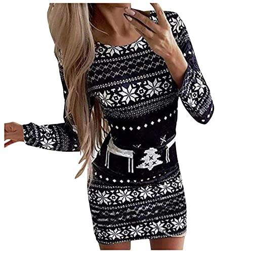 PANGF Vestido de mujer para Navidad, ajustado, elegante, de manga larga, para fiestas, informal, elegante, largo hasta la rodilla, vestido de noche, vestido de verano., 04-blanco, M