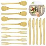 Juego de cubiertos de bambú de 15 piezas, herramienta Sonku tenedor cuchara utilizada para ensaladas de frutas, té, sopa, lavavajillas, utensilios seguros para uso doméstico, camping y viajes