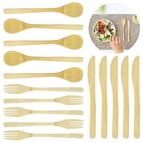 15-teiliges Bambus-Besteck-Set, Sonku-Gabel, Löffel, Werkzeug für Obstsalat, Tee, Suppe, spülmaschinenfest, für Zuhause, Camping und Reisen