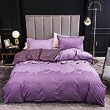 Juego de ropa de cama de 135 x 200 cm, 4 piezas, diseño de flores, funda nórdica de microfibra, diseño vintage, color morado