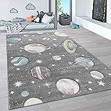 Paco Home Alfombra Infantil, Alfombra Pastel Habitación Infantil con Nubes 3D Y Motivos De Estrellas Arcoíris, tamaño:80x150 cm, Color:Gris 4