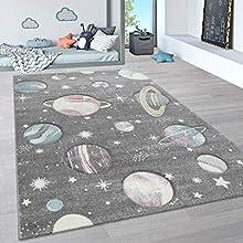 Paco Home Alfombra Infantil, Alfombra Pastel Habitación Infantil con Nubes 3D Y Motivos De Estrellas Arcoíris, tamaño:120x170 cm, Color:Gris 4