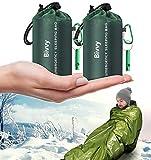 Timok Emergency Sleeping Bags Thermal-Emergency-Blankets2 Packs Ultralight Space Blankets Survival Waterproof Bivy Sack Multi-Purpose Outdoor Survival Gear for Hiking, Camping, First Aid Kits, Green