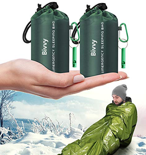 Timok Emergency Sleeping Bags Thermal-Emergency-Blankets 2 Packs Ultralight Space Blankets Survival Waterproof Bivy Sack Multi-Purpose Outdoor Survival Gear for Hiking, Camping, First Aid Kits, Green